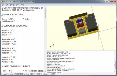 OpenSCAD showing my modeled speaker set